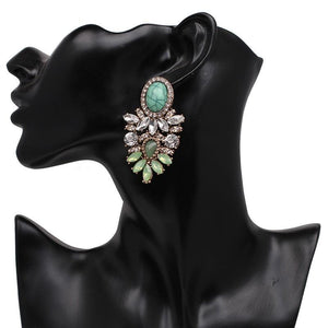 "Earrings - ""ARIA"" GREEN CRYSTAL DIAMANTE STATEMENT EARRINGS"