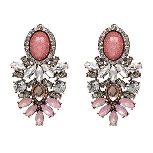 "Earrings - ""ARIA"" PINK CRYSTAL DIAMANTE STATEMENT EARRINGS"