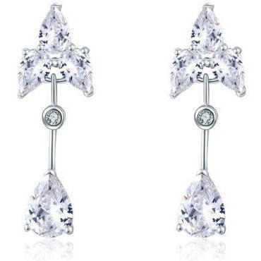 Earrings - Audrey | Silver Crystal Diamante Drop Wedding Bridal Earrings