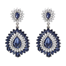 "Load image into Gallery viewer, Earrings - ""BELLA"" SAPPHIRE BLUE CRYSTAL EARRINGS"