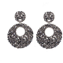 Load image into Gallery viewer, Earrings - BLACK CRYSTAL STATEMENT EARRINGS