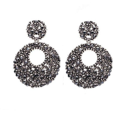 Earrings - BLACK CRYSTAL STATEMENT EARRINGS
