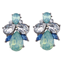 Load image into Gallery viewer, Earrings - BLUE GREEN CRYSTAL DIAMANTE WATERDROP EARRINGS