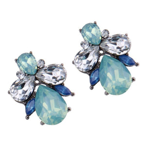 Earrings - BLUE GREEN CRYSTAL DIAMANTE WATERDROP EARRINGS