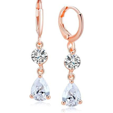 Earrings - Catrice | CZ Crystal Diamante Rose Gold Earrings