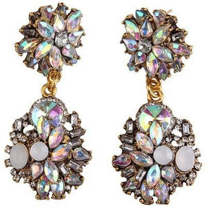 Dahlia | AB Crystal Diamante Bridal Earrings-Glitzy n Glamorous