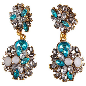 "Earrings - ""DAHLIA"" BLUE CRYSTAL DIAMANTE BRIDAL EARRINGS"