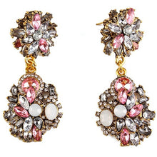 "Load image into Gallery viewer, Earrings - ""DAHLIA"" PINK CRYSTAL DIAMANTE BRIDAL EARRINGS"