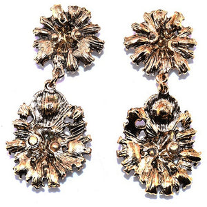 "Earrings - ""DAHLIA"" PINK CRYSTAL DIAMANTE BRIDAL EARRINGS"