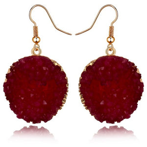 "Earrings - ""DESI"" BURGUNDY RED SPARKLY EARRINGS"