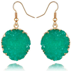 "Earrings - ""DESI"" EMERALD GREEN & GOLD SPARKLY EARRINGS"