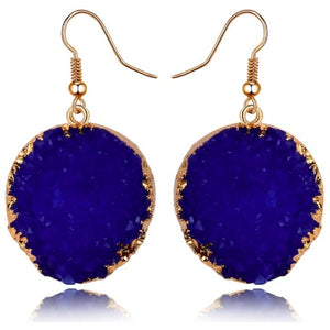 "Earrings - ""DESI"" NAVY BLUE & GOLD SPARKLY EARRINGS"