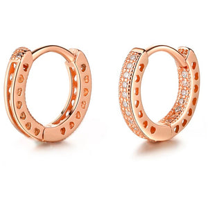 Earrings - Rose Gold Crystal Huggies Hoop Earrings