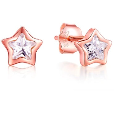 Earrings - Fleur |  Rose Gold Crystal Star Stud Earrings