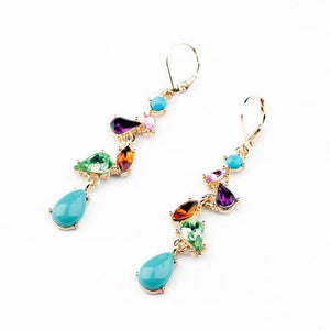 "Earrings - ""IRIS"" Multicoloured Crystal & Gem Drop Earrings"
