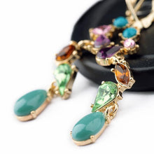 "Load image into Gallery viewer, Earrings - ""IRIS"" Multicoloured Crystal & Gem Drop Earrings"