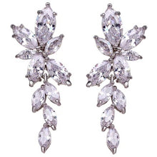 Load image into Gallery viewer, Earrings - Isla | Silver Crystal Diamante Leaf Drop Wedding Bridal Earrings