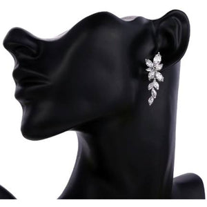 Earrings - Isla | Silver Crystal Diamante Leaf Drop Wedding Bridal Earrings