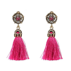 "Earrings - ""IVANA"" Pink Crystal Tassel Earrings"