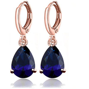 "Earrings - ""KATHRYN"" Navy Blue CZ Crystal Diamante Rose Gold Earrings"