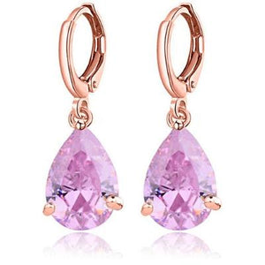 "Earrings - ""KATHRYN"" PINK CZ CRYSTAL DIAMANTE ROSE GOLD EARRINGS"
