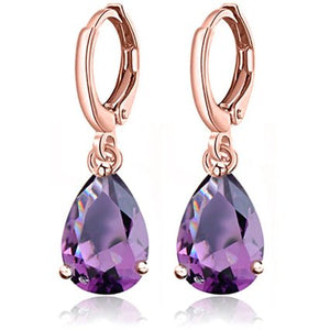 "Earrings - ""KATHRYN"" Purple CZ Crystal Diamante Rose Gold Earrings"