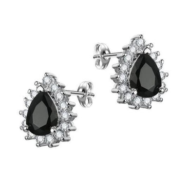 Teardrop Bridal Earrings | BLACK CRYSTAL TEARDROP WEDDING BRIDAL EARRINGS