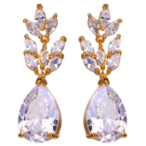 Earrings - Lea | Crystal Gold Leaf Teardrop Wedding Bridal Earrings