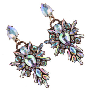 Earrings -  AB CRYSTAL DIAMANTE FLOWER EARRINGS