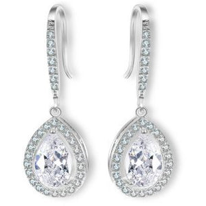 Earrings - Macy | Silver Crystal Diamante Pear Drop Wedding Bridal Earrings