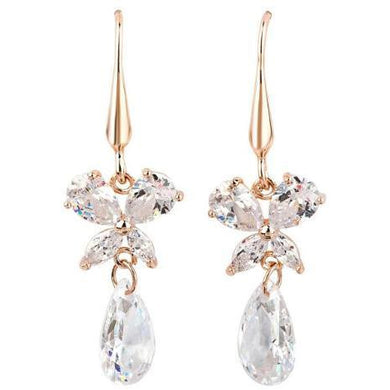 Earrings - May | Rose Gold Butterfly Crystal Diamante Wedding Bridal Drop Earrings