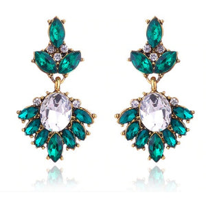 "Earrings - ""MIA"" Emerald Green & Gold Crystal Earrings"