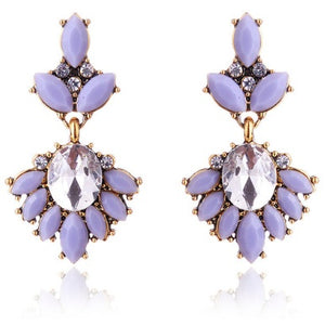 "Earrings - ""MIA"" Lilac Grey & Gold Crystal Earrings"