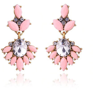 "Earrings - ""MIA"" Pale Peach Pink & Gold Crystal Earrings"