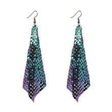 "Load image into Gallery viewer, Earrings - ""NAYA"" Purple Green Chainmail Earrings"