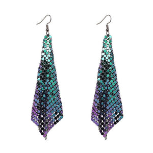 "Earrings - ""NAYA"" Purple Green Chainmail Earrings"