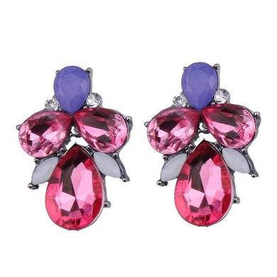 Earrings - PINK CRYSTAL DIAMANTE WATERDROP EARRINGS