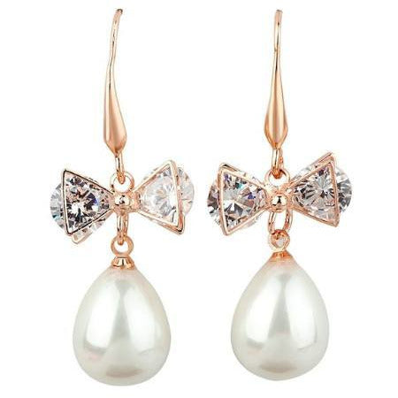Earrings - Rae | Rose Gold Crystal Diamante Pearl Drop Wedding Bridal Earrings