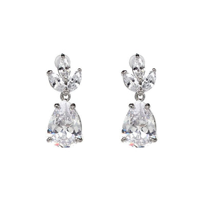Earrings - Victoria | Silver CZ Crystal Wedding Bridal Earrings