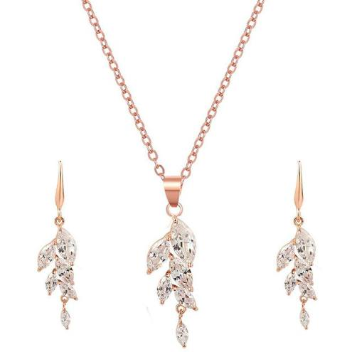 Necklace - Ariella | Rose Gold Crystal Wedding Bridal Leaf Necklace And Earring Set