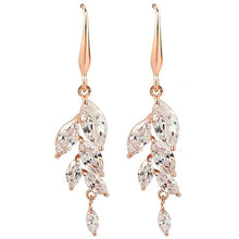Load image into Gallery viewer, Necklace - Ariella | Rose Gold Crystal Wedding Bridal Leaf Necklace And Earring Set