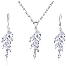 Load image into Gallery viewer, Necklace - Ariella | Silver Crystal Wedding Bridal Leaf Necklace And Earring Set