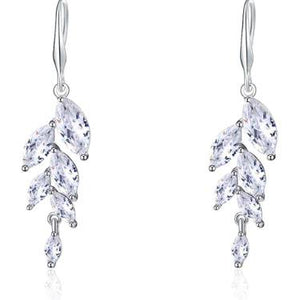Necklace - Ariella | Silver Crystal Wedding Bridal Leaf Necklace And Earring Set