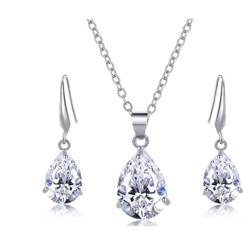 Necklace - Beau | Silver Crystal Wedding Bridal Necklace And Earring Set