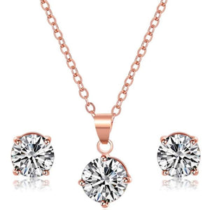 Necklace - Deliah | Rose Gold Crystal Wedding Bridal Necklace And Earring Set