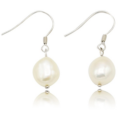 Pearl Drop Sterling Silver Bridal Earrings-Glitzy n Glamorous