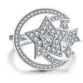 Rings - Luna | Silver Crystal Star And Moon Spinning Ring