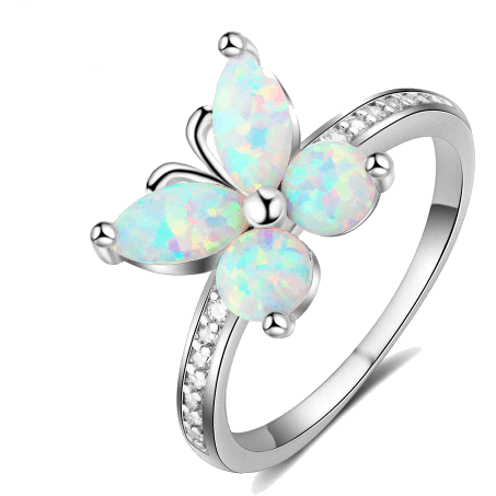 Rings - Mariah |  Opal Butterfly Sterling Silver Ring