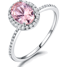 Load image into Gallery viewer, Rings - Tati | Pink Crystal Halo Sterling Silver Ring