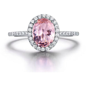 Rings - Tati | Pink Crystal Halo Sterling Silver Ring